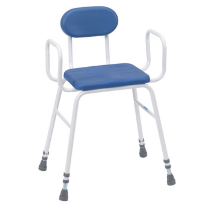 Ideal for bathroom, shower or kitchen use, these perching stools are height adjustable and have an anti-slip seat